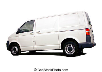 white van with clipping path