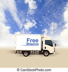 White van with Free Shipping and blue sky