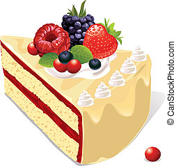 white vanilla cake with berries and jam