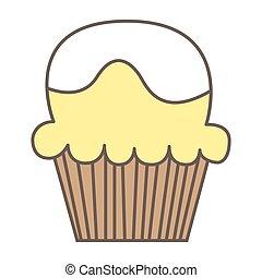 White vanilla cream cupcake isolated