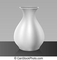 White vase, isolated on background