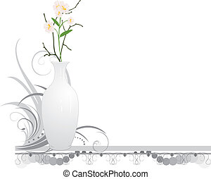 White vase with bouquet of flowers
