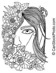 white., vecteur, tension, noir, anti, floral, griffonnage, girl, adults., livre, exercise., frame., drawing., illustration, méditatif, coloration