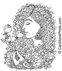 white., vecteur, tension, tenue, anti, noir, griffonnage, girl, flower., livre, adults., exercise., drawing., illustration, méditatif, coloration