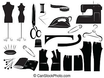 white., vector, costura, equipments
