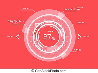White vector elements on red background
