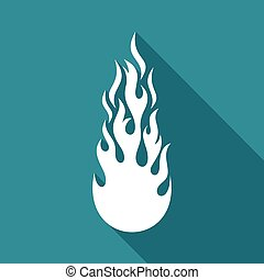White vector fire flame flat icon