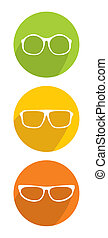 White vector glasses icon set
