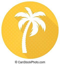 White vector palm tree round flat icon