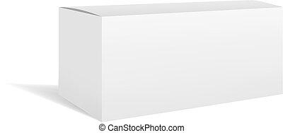 White vector rectangular horizontal box mockup