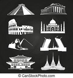 White vector silhouettes famous landmarks