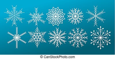 White vector snowflakes on blue gradient background