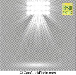White vector spotlight light effect on transparent...