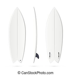 White vector surfing board template - fish surfboard - White...