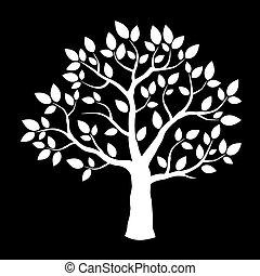 White vector tree on black background