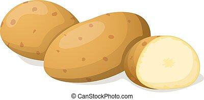 white., vector, vrijstaand, illustratie, aardappel
