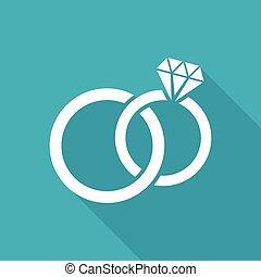 White vector wedding rings flat icon