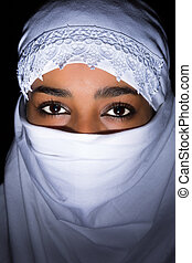 White veil on African woman - Closeup of an African woman ...