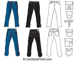 white., vektor, jeans, kläder