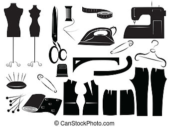 white., vektor, sömnad, equipments