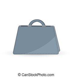 white., vektor, väska, accessories., mode, lägenhet, isolerat, kvinnlig, portmonnä, kvinna, handväska, stilig, style., begrepp, illustration.