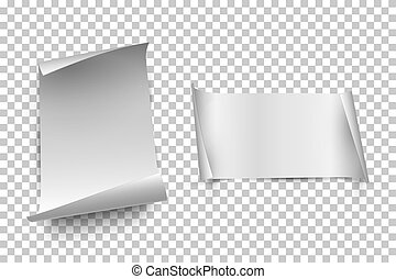 White vertical and horizontal paper sheets with curled edges isolated on transparent background. Vector design elements.