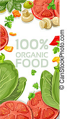 White vertical banner with vegetarian fresh organic natural food