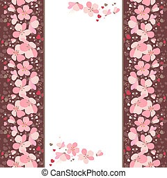 White vertical frame with pink cherry flowers