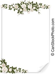 white vertical paper sheet decorated roses