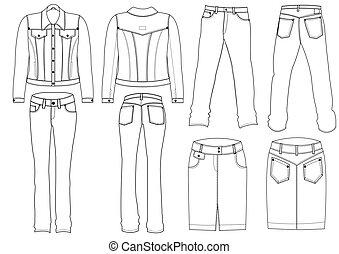 white., vetorial, calças brim, roupas