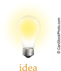 white., vetorial, iluminado, isolado, bulbo, realístico, luz, ilustração