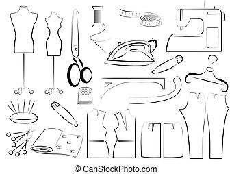 white., vettore, cucito, equipments