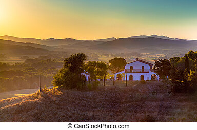 White Villa on Top of a Hill in Tuscany, Italy