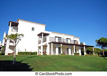 white villa - Summer landscape with white luxury resort...