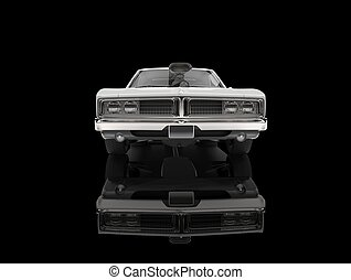 White vintage American muscle car - in black showroom - front view