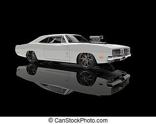 White vintage American muscle car - in black showroom