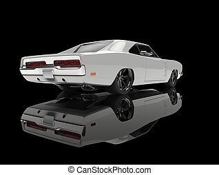 White vintage American muscle car - in black showroom - tail view