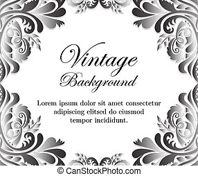 White vintage background with floral frame