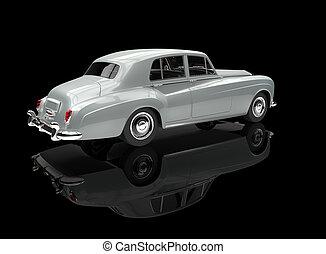 White Vintage Car On Black