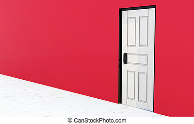 White vintage door in a red wall