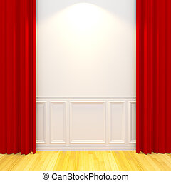 White vintage empty room with red curtain