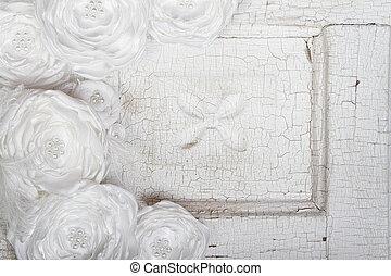 White Vintage flowers on a vintage background