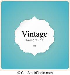 White vintage frame on blue background