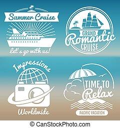 White vintage vacation logo set - summer travel