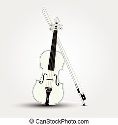 White violin and bow with shadow