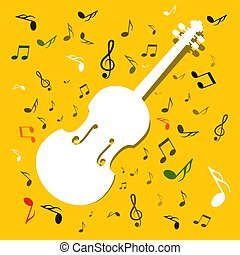 White Violins with Notes on Yellow Background. Vector Music Background.