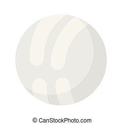 White volleyball ball vector cartoon illustration.