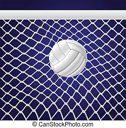 White Volleyball net and ball on blue background