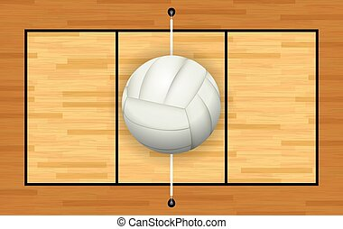 White Volleyball on Hardwood Court - A light grey white...