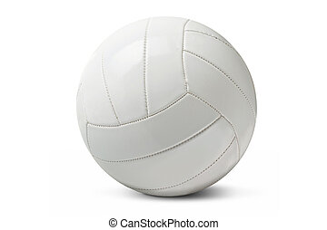 White volleyball - White isolated volleyball over a white...